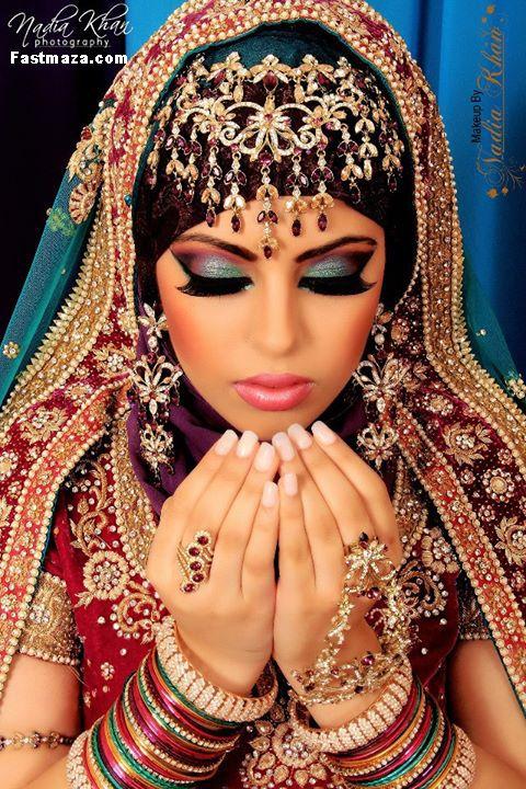 maquiagem indiana com olhos coloridos
